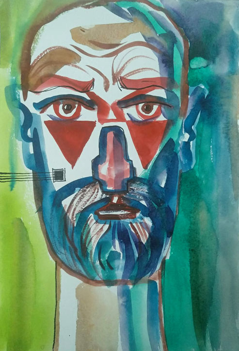 Ляпин А. Автопортрет с красными треугольниками и квадратом