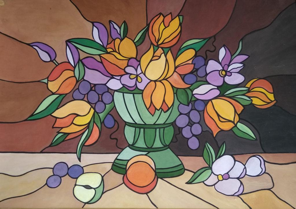 Тарасевич Л. Цветы и фрукты (витраж)