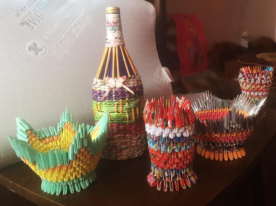 Будник В. «Вазы, бутыль» (модульное оригами)