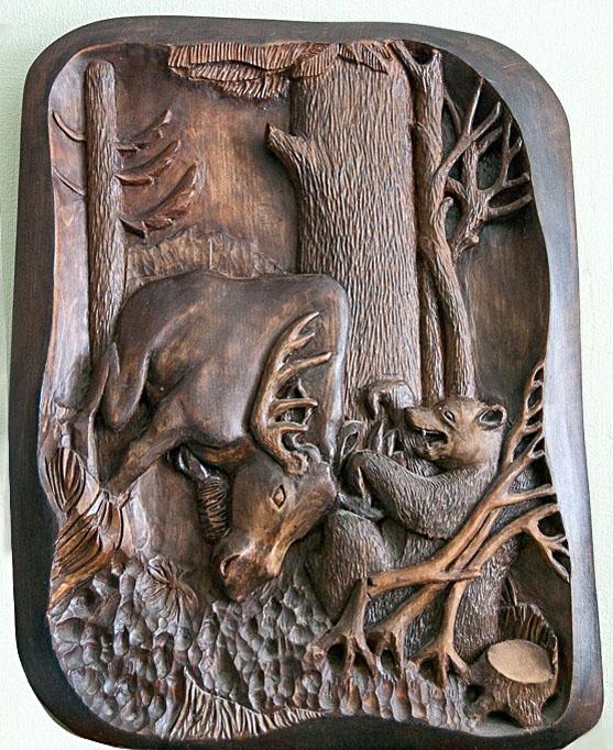 Суворов С. «Неожиданная весенняя встреча» (дерево, художественная резьба)