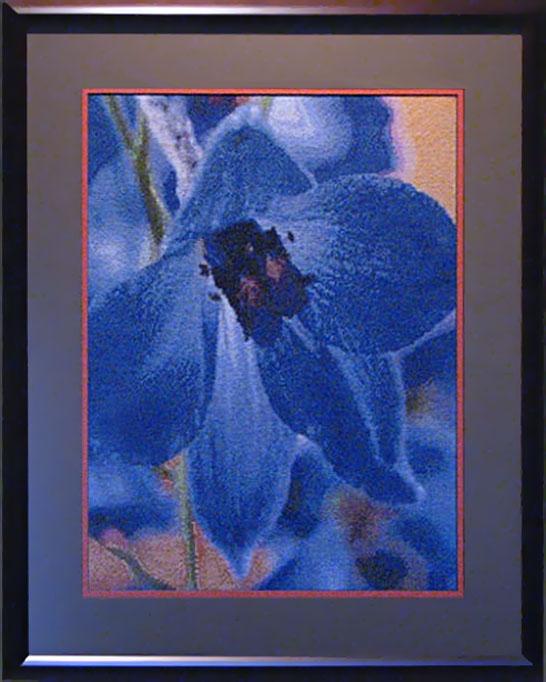Янович В. «Орхидея» (схема Mystic Stitch (США), канва №14, мулине ДМС (Франция), вышито полным крестом в 2 нити)