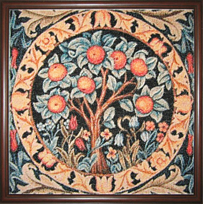 Янович В. «Апельсиновое дерево» (cхема Golden Kite (Швеция), по мотивам работы В. Морриса, гобелен, канва Хардангер 22, мулине ДМС (Франция), вышито петит-поинтом в 2 нити)