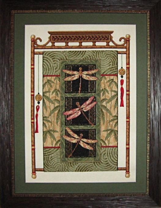 Янович В. «Свиток со стрекозами» (набор Dimensions (США), канва №18, мулине Dimensions, вышито полным крестом в 2 нити и полу крестом в 1,2 и 3 нити)